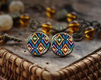 Boho Colorful stud earrings, Native American Art earrings, Mexican Folk Art earrings, Folk art Jewelry