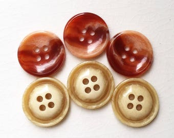 burnt orange rust and wheat yellow cream nos vintage buttons--mixed lot of 6