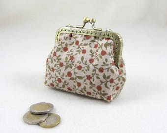 Handmade coin purse, floral purse,  change purse, womens clasp purse, gift for her, kiss lock purse, bronze frame pouch, made in France