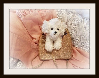 Little girls Gold purse ,with white ty dogie , over-the-shoulder glitter bag ,, Complete set purse and Doggie and shoulder strap