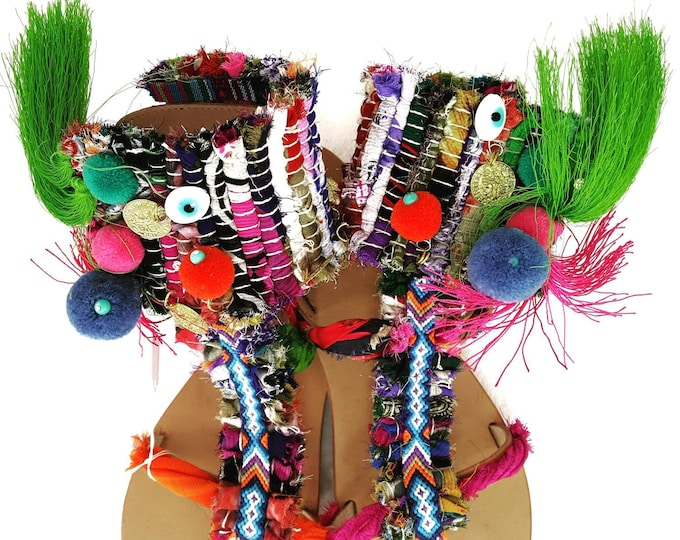 DHL FREE Ragrug sandals/Greek sandals/boho/ethnic/summer shoes/pompom sandals/gladiator sandals/ kilim/women sandals/strappy sandals/luxury