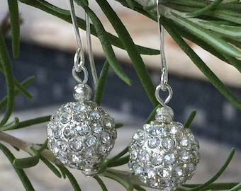 Silver Pave Drop Earrings, Crystal Ball, Metal Rhinestone Pave Drop, Silver CZ Earrings, Silver Plated French Ear Wire, Christmas, Bridal