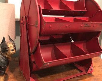 Vintage Industrial Metal Parts Holder - 1940's - Industrial Storage - Display - Revolving - Industrial Decor - Organization - Hardware
