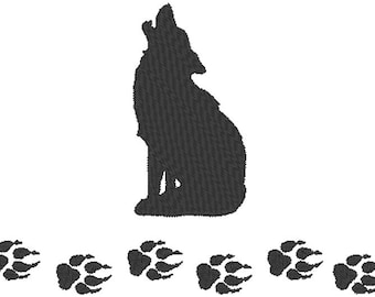 Wolf - Wolf Tracks - UP North - Embroidery Design File - multiple formats -  sized for 5x7 hoop - instant download