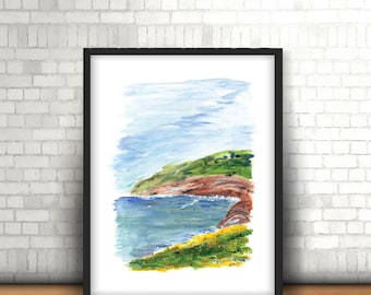 "Coastal abstract wall art-Landscape abstract wall art-Dorm room decor, Seascape abstract-Cottage hostess gift-Abstract for her-""In the cove"""