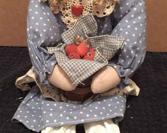 Fall Girl Doll With Basket of Apples