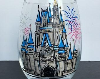 Cinderella's Castle Disneyworld Disney Gift Handpainted Wine Glass