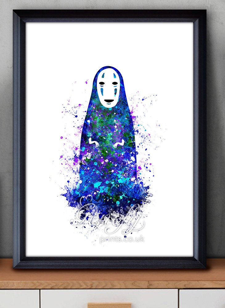 Spirited Away Print No Face Studio Ghibli Watercolor Poster