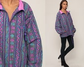 90s Windbreaker Jacket TRIBAL Print GOTCHA Pullover Jacket Boho Purple Southwestern Hipster Bohemian South West Vintage 1990s Extra Large xl
