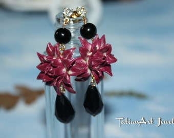 Chrysanthemum flower earrings, unique gift for you.