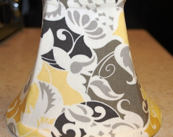 Custom Gray, White and Yellow Floral Chandelier Lamp Shade Lampshade