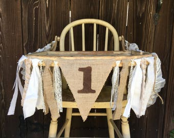 High Chair Banner, First Birthday Banner, 1st Birthday, Rustic, Burlap and Lace, Photo Prop, Cake Smash, Rustic Birthday, County,Shabby Chic