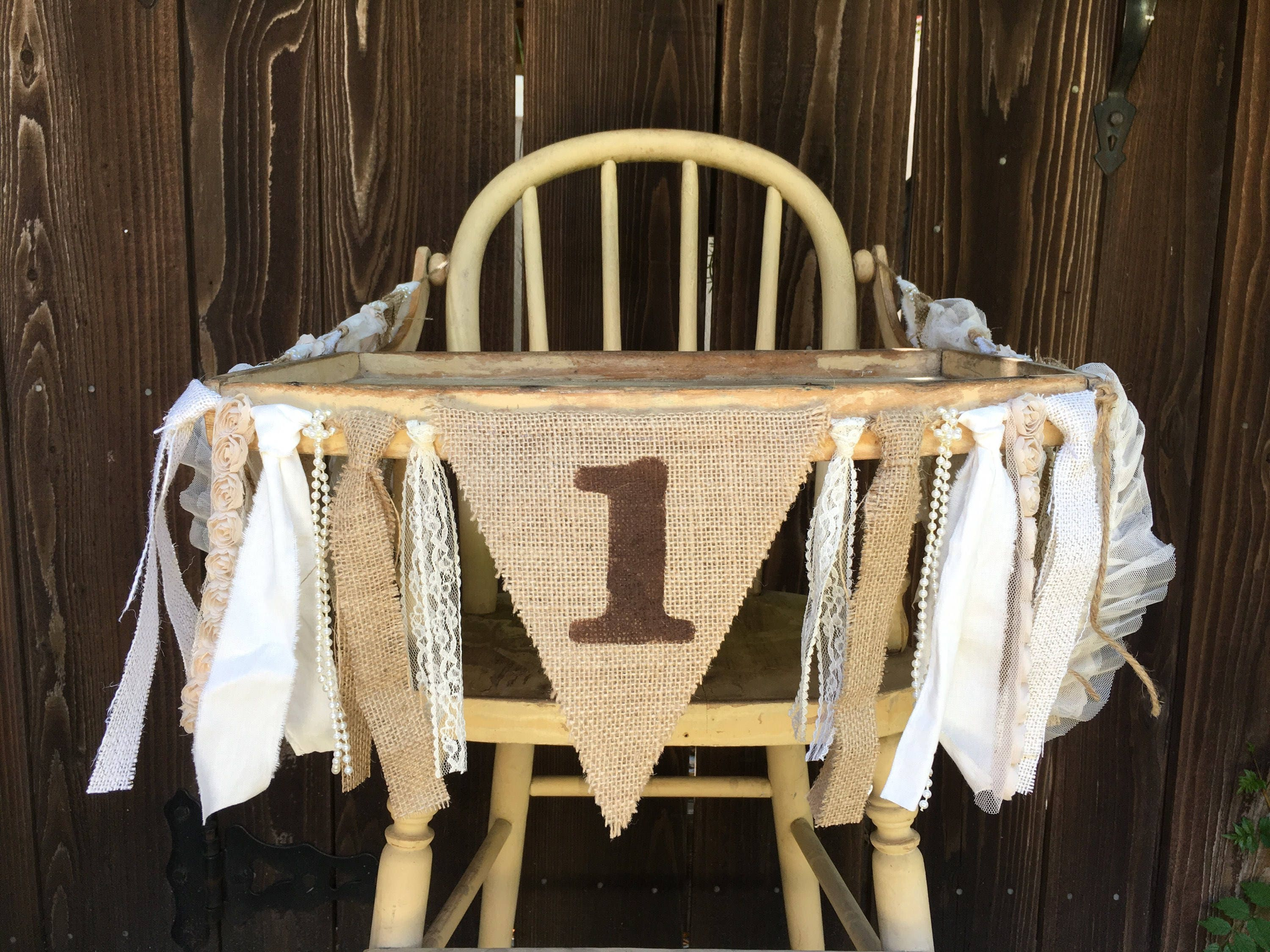 High Chair Banner First Birthday 1st Rustic Burlap And Lace Photo Prop Cake Smash CountyShabby Chic