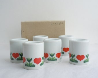 Set of Six Vintage German White Porcelain Candle Holders with Red Hearts Design Original Box