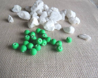 set of 20 synthetic neon, bright green 6 mm beads