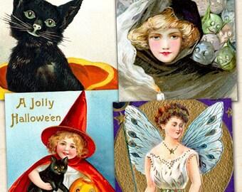 Antique Halloween Printables 1x1 inch Squares, Vintage Halloween Instant Download, Digital Halloween Printable Witches Pumpkins - piddix 151