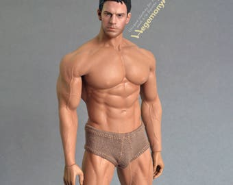 1/6th scale XXL brown men's underwear for: Phicen M34 and Hot Toys TTM 20 size bigger / larger action figures and male fashion dolls