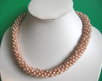 Fabulous Beaded Twist Mauve Pink Freshwater Pearl Necklace