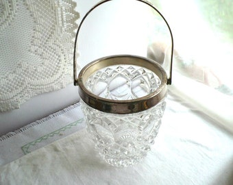 Candy Dish, Candy Basket, Lead Crystal, Basket with Handle, Vintage Candy Dish, Diamond Cut Crystal Basket