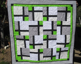 Modern Grey, Green, Black Baby Quilt