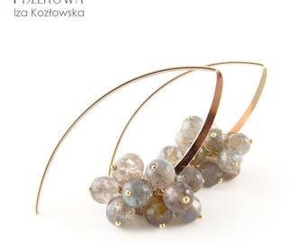 Labradorite multi-balls in gold - gold filled earrings with labradorite