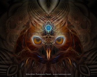 Nina Chusiqa Owl -Tapestry, Wall Hanging-Original Pumayana Visionary Art, Spiritual, Psychedelic, Shamanic, Sacred Geometry, Entheogenic Art