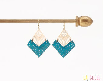 Diamond resin chevron pattern/coral polka dot earrings