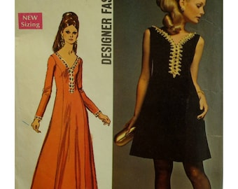 A-line Dress Pattern, 60s, Deep V-neck, Princess Seams, Evening Wear, Sleeveless/Long Sleeves, Braid Trim, Simplicity No. 8493 Size 14