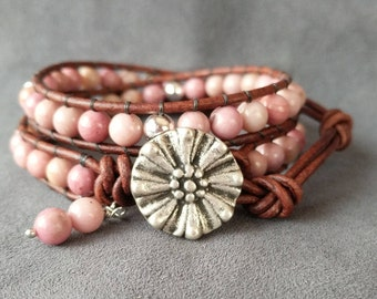 Boho Leather Bracelet, Gemstone Bracelet, Beaded Leather Wrap Bracelet, Rhodonite And Sterling Silver Bracelet, Heart Chakra Gemstone
