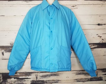 Vintage 1980s Blue Aqua Windjammer Lined Windbreaker Winter Coat Jacket Snap Front Pockets Size Small