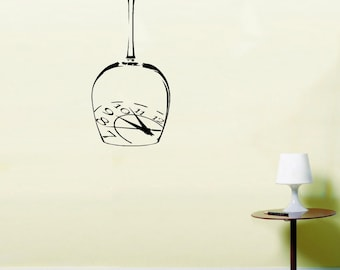 Elegant Clock in A Wine Glass Time Wall Art Vinyl Stickers Kitchen Dining Mural LSWA102