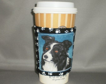 Coffee Cozy - Border Collie - Coffee Cuff -  Coffee Sleeve - Reuseable Fabric Cozy - Eco Friendly - Dog - Paw Prints