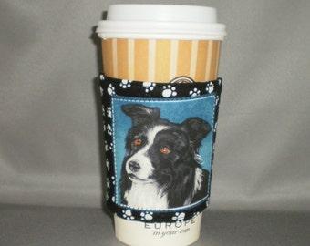 Coffee Cozy - Border Collie - Coffee Cuff -  Coffee Sleeve - Reuseable Fabric Cozy - Eco Friendly - Dog - Paw Prints