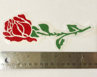Long Stem Red Rose Window, Vehicle, Mirror, Accent Decal Sticker Handcrafted