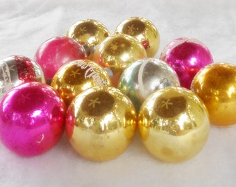 Vintage Blown Glass Christmas Ornaments, Boxed Set of 12, Mercury Glass, Tree Decorations