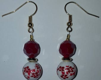 Red Floral Earrings - Red White Gold - Valentine's Day