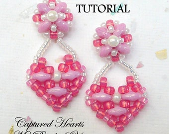 PDF Tutorial Beaded Earrings, SuperDuo Tutorial, Seed Bead Earrings, Beadwork Tutorial, Earring Pattern, Heart Earring Tutorial, MyBeads4You