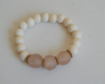 White bone beads with pink recycled glass beads, beach chic, neutral, summer fashion, stretch bracelet, brass beads, pantone color 2016