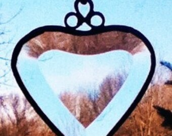 Stained Glass Beveled Heart Sun Catcher - Wedding or Shower Favor