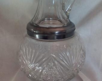 Large Cut Glass Oil Vinegar Cruet