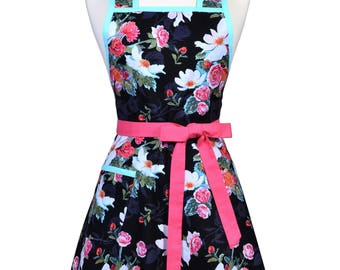Womens Vintage Apron - Asian Magnolia Black Pink Aqua Floral Apron - Cute Retro 50s Style Kitchen Apron with Pocket - Over the Head Apron