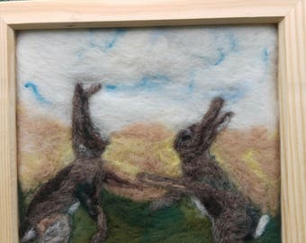 Hares in spring - needle felted art picture