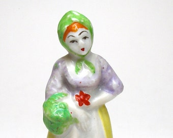 50's figurine, Lady wearing kerchief, made in Japan, porcelain, china.