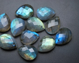 Front Drilled,10 Beads,Super Finest Blue Flash Labradorite Faceted Pear Shape Briolettes Size 12x16mm aprx