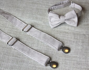 Solid Tan / Beige Bow Tie and Suspender set ( Men, boys, baby, toddler, infant ) Bow Tie, Bowtie, Suspenders, Suspender Set outfit