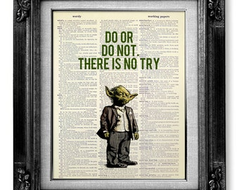 inspirational design star wars wall. Star Wars YODA Art  Inspiration Quote Print GEEKERY Decor POSTER Original Design Artwork by GoGoBookart on Etsy