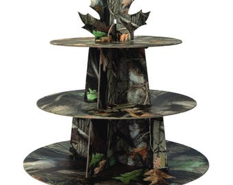 Camouflage Cupcake Display Stand Holds 24 Cupcakes! Great For Hunting - Military Theme Birthday Parties! Includes Matching Camo Baking Cups!