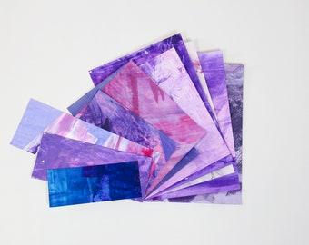 Hand Painted Scrap Paper Pack - assorted weight papers for scrapbooking/card making/collage/journaling - purple