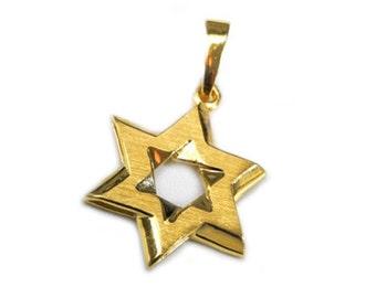 14k Gold Brushed Star of David Pendant