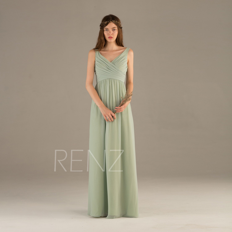 Bridesmaid Dress Dusty Mint Chiffon DressWedding DressRuched